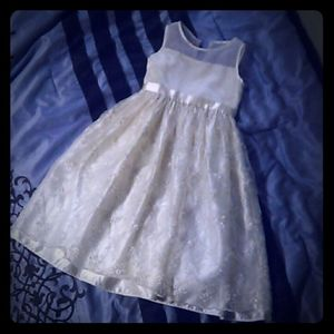 Youth girls formal white dress